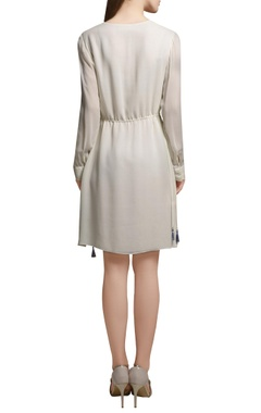 Ivory embroidered short georgette tunic with drawstrings