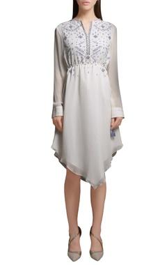 Mandira Wirk Ivory pearl & sequin embroidered handkerchief hemline georgette tunic