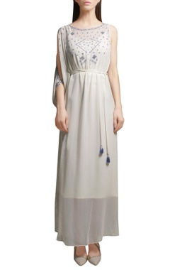 Ivory pearl & sequin embroidered georgette kaftan