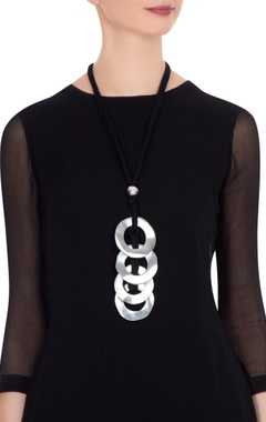 Silver finish statement necklace with circular hoops