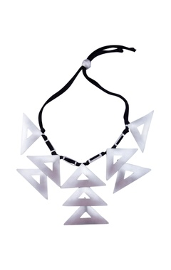 Silver finish statement necklace with triangular motifs