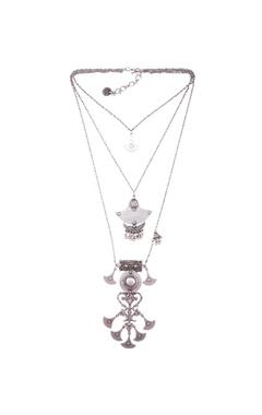 Silver finish long necklace with pendant drop accents