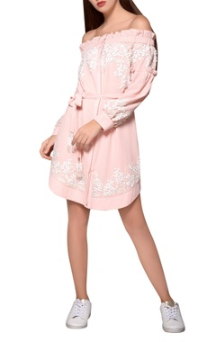Blush moss crepe pink belted bardot dress