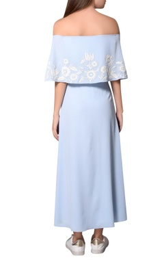 Icy blue moss crepe bardot layer dress