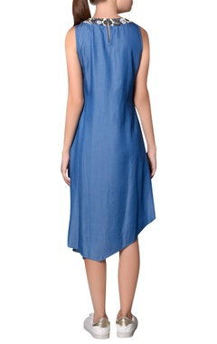 Blue denim asymmetric sleeveless dress