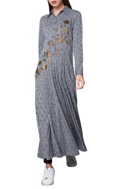 Namrata Joshipura Grey jersey beaded maxi shirt dress