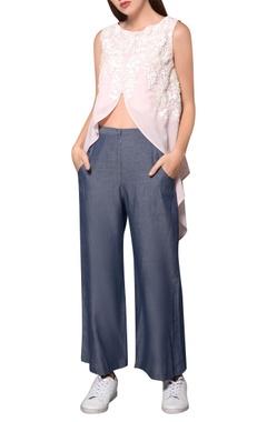 Namrata Joshipura Frosty pink georgette front slit gilet-style blouse