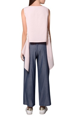 Frosty pink georgette front slit gilet-style blouse