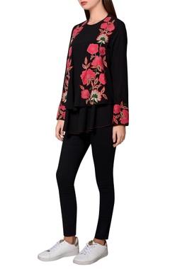 Namrata Joshipura Black moss crepe floral embroidered front open jacket