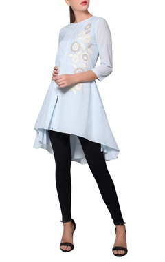 Namrata Joshipura Icy blue floral georgette jacket-tunic
