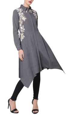 Namrata Joshipura Grey chambray asymmetric hemline kurta