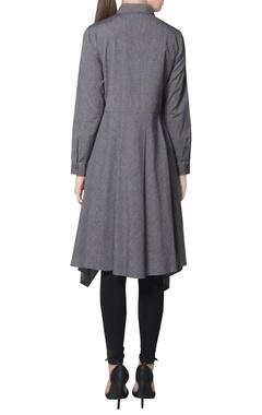 Grey chambray asymmetric hemline kurta
