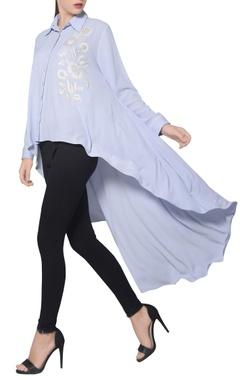 Namrata Joshipura Icy blue moss crepe high low embroidered shirt