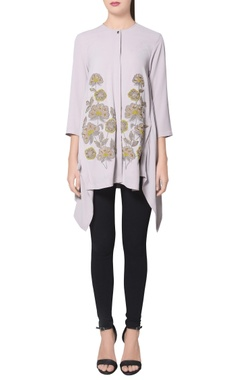 Grey moss crepe high-low tunic