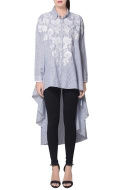 Namrata Joshipura Blue & white stripe cotton high low embroidered shirt
