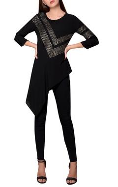 Namrata Joshipura Black moss crepe asymmetric hemline blouse
