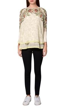Namrata Joshipura Ivory georgette floral printed layered blouse