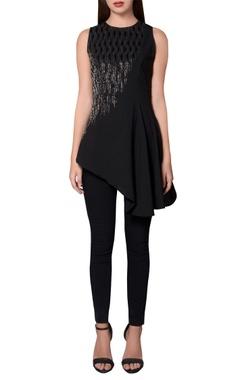 Namrata Joshipura Black georgette sleeveless asymmetric hemline blouse