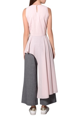 Frosty pink georgette sleeveless asymmetric blouse