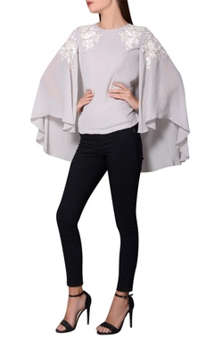 Namrata Joshipura Grey georgette batwing sleeves blouse