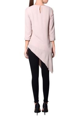 Blush pink moss crepe asymmetric hemline blouse