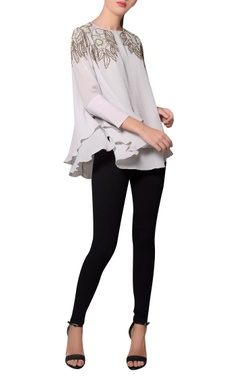 Namrata Joshipura Grey moss crepe double layered beaded blouse