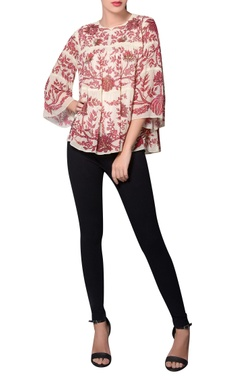 Namrata Joshipura Red & white georgette floral printed blouse