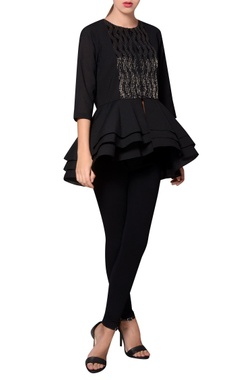 Namrata Joshipura Black georgette bead embroidered blouse