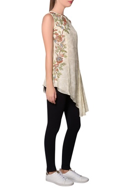 Ivory georgette floral printed pleated detail tunic