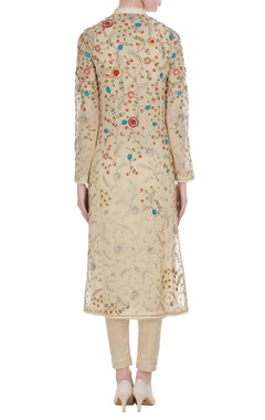 Floral embroidered jacket-style kurta with leggings