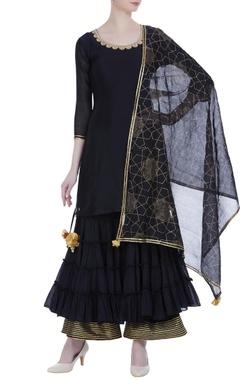Gota embroidered kurta & layered sharara set