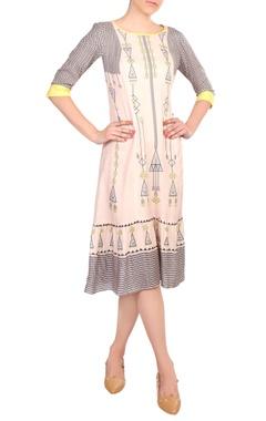 Pastel pink cotton blend midi dress