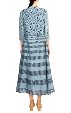 Blue chanderi jacket dress