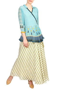 SOUP by Sougat Paul Blue wrap style tie-up blouse with flared skirt