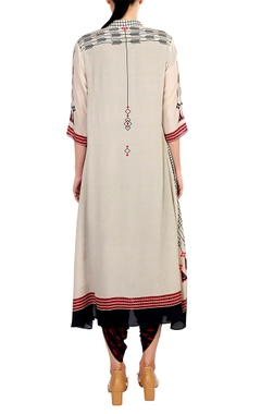 Cream printed anarkali with dhoti pants