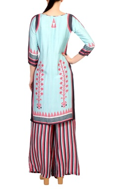 Pink & blue printed chanderi kurta set