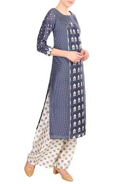 Blue chanderi printed kurta with palazzos
