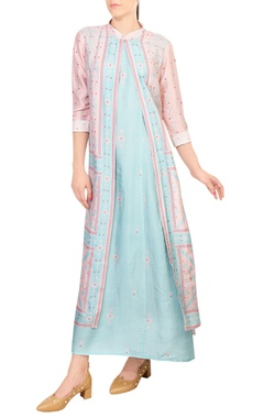 SOUP by Sougat Paul Pink & blue tussar silk jacket layer maxi dress