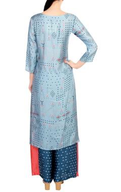 Blue cotton printed kurta with palazzos
