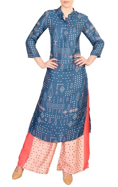 Blue printed cotton kurta with palazzos