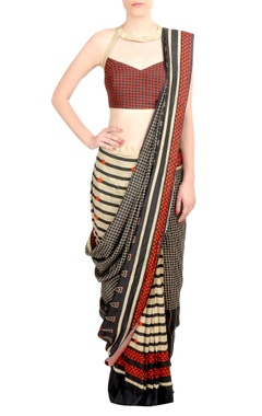 SOUP by Sougat Paul Multicolored printed tussar silk saree