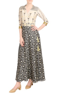 SOUP by Sougat Paul Beige & charcoal printed wrap style dress