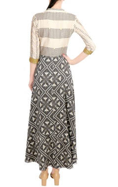 Beige & charcoal printed wrap style dress