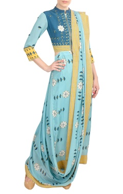 Yellow & blue crepe silk pre-draped sari with attached jacket-blouse