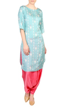 SOUP by Sougat Paul Blue printed boat neckline kurta with satin pants