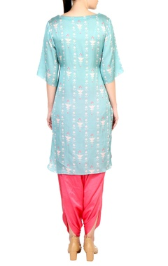 Blue printed boat neckline kurta with satin pants