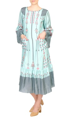 SOUP by Sougat Paul Blue cotton printed midi dress with bell sleeves