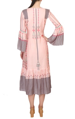 Pink cotton printed midi dress with bell sleeves