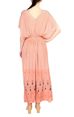 Peach crepe silk printed jumpsuit