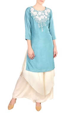 SOUP by Sougat Paul Blue embroidered satin & crepe silk kurta with palazzos